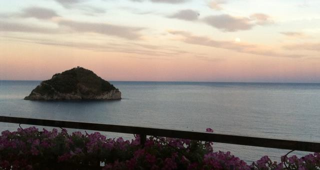 Sunset landscape on the island of Bergeggi from the terrace of the hotel Acqua Novella Spotorno